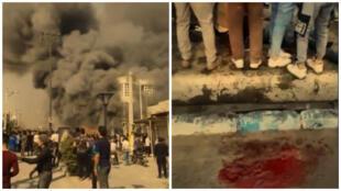 Une banque en feu à Behbahan (à gauche). Attroupement à Shivet après qu'un homme a été fauché par une balle (à droite). Capture d'écran de vidéos circulant sur Telegram et Twitter.