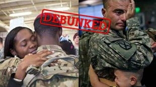 People on social media have been sharing images of what they say are US soldiers leaving for war with Iran (Photos from Facebook)