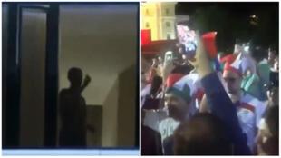 Cristiano Ronaldo, à gauche, demande aux fans iraniens de baisser le son et de le laisser dormir, dimanche 24 juin à Saransk.