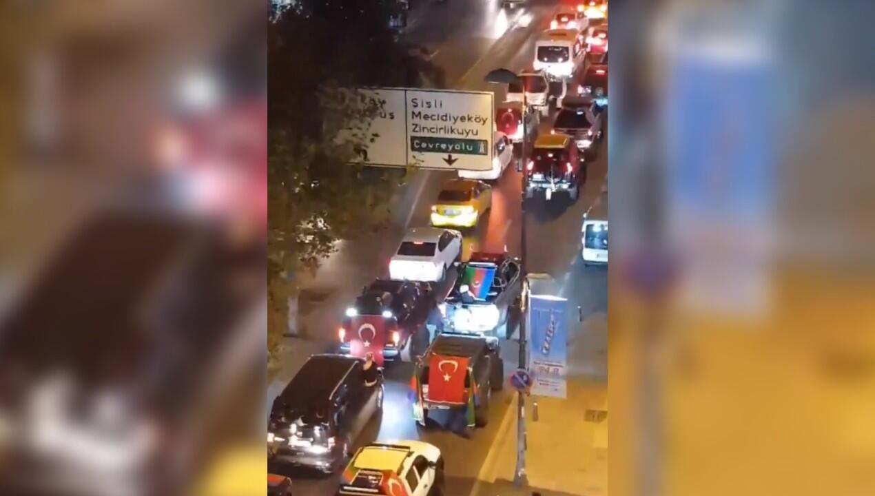 Screengrab of a video posted on Twitter on October 5, showing a group of Turkish ultra-nationalists storming Kurtulus, a neighbourhood in Istanbul that is home to a large Armenian population.