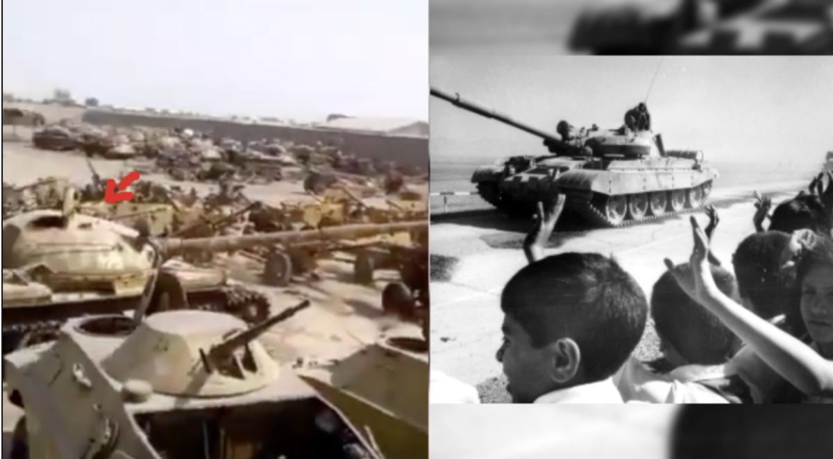 Image extraite de la vidéo à gauche et image de 1987 à droite