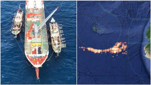 At left, a screengrab of a video showing three Chinese vessels operating near the Galapagos marine reserve. The footage was filmed by Ecuadorian fishermen on July 21, 2020. The image on the right shows the fleet's location mapped by Global Fishing Watch.