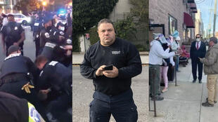 Screengrabs of (left) a clash between protesters and police in Washington, D.C., (centre) a man accused of voter intimidation in Brooklyn, (right) a heated exchange between a Republican poll watcher and other poll workers in Philadelphia.