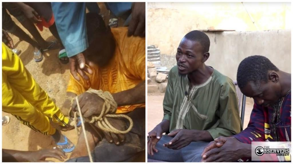 Mohammedou Sidibé was tied up and publicly humiliated in the Malian village of Krémis on September 17, 2019 (the screengrab on the left is from an amateur video). He told the Observers that it was because he and his cousin refused to be called slaves.