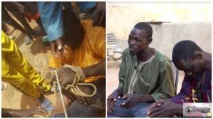 """Mohammedou Sidibé a été ligoté et humilié en public dans le village de Krémis le 17 septembre 2019 (à gauche, capture d'écran de la vidéo). Il a dit à la rédaction des Observateurs que c'est parce que lui et son cousin ont refusé d'être appelé """"esclaves""""."""