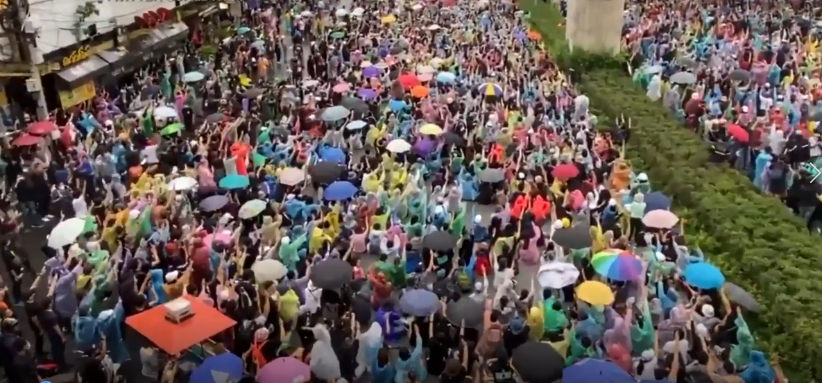 Manifestation à Bangkok le 17 ocotobre 2020.