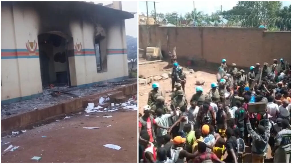 La mairie de Beni a été incendiée et des manifestants ont pénétré au sein d'une base de l'ONU dans la même ville lundi 25 novembre. Crédits photos : captures d'écran de vidéos envoyées par nos Observateurs à Beni.