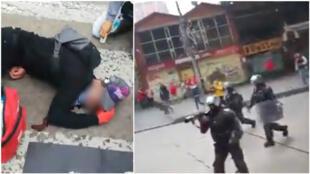 Un Colombien de 18 ans a été tué, après avoir été touché à la tête par un tir de la police le 23 novembre, à Bogotá. Crédit : captures d'écran de deux des vidéos ci-dessous.