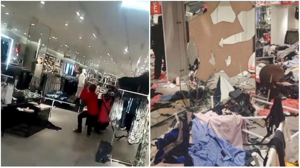 Un miltant des EFF s'en prend à un magasin H&M à Pretoria le 13 janvier. Vidéo et photo publiées sur Twitter.