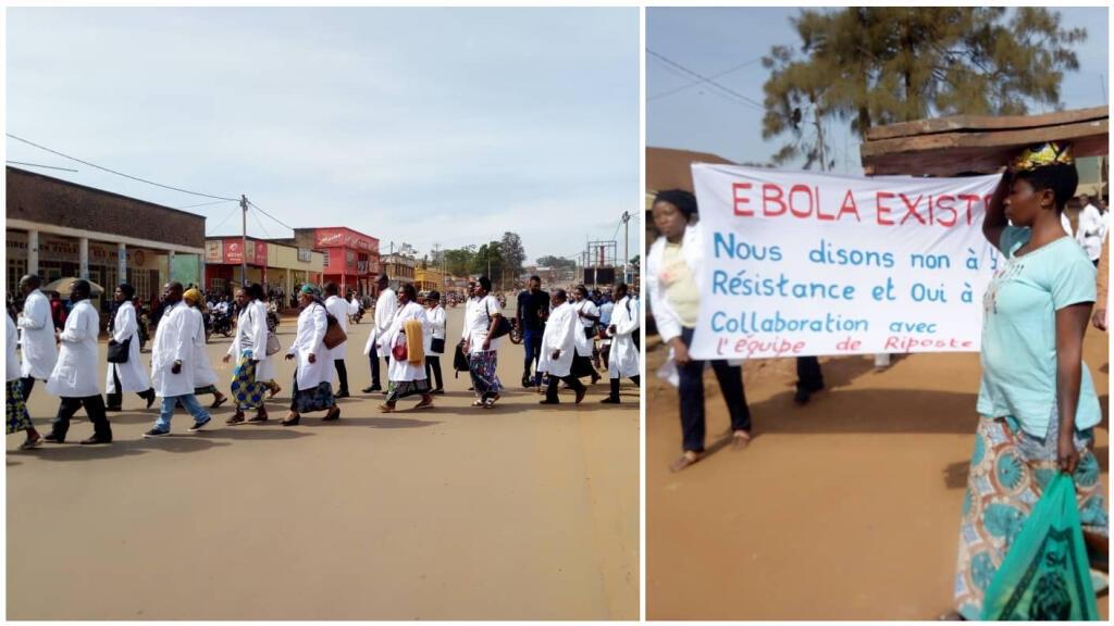 Des médecins et infirmiers congolais impliqués dans la riposte contre le virus Ebola manifestent à Butembo, le 24 avril 2019. Photos envoyées par nos Observateurs.