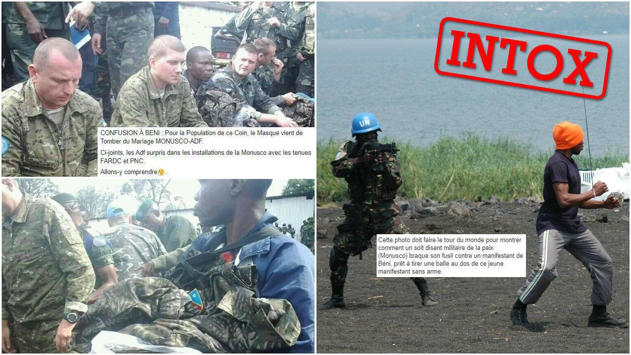 Captures d'écran de photos et publications Facebook relayant des rumeurs sur les actions de la Monusco à Beni.