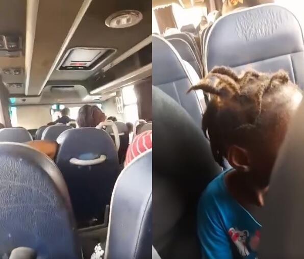 Une vidéo d'un bus montre plusieurs personnes conduites à la frontière avec la Libye, dont de jeunes enfants, et au moins un bébé.