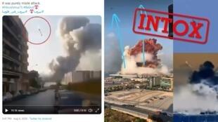 Des photos et des vidéos ont été manipulées graphiquement pour y ajouter des missiles ou des drones. Crédit : Twitter.