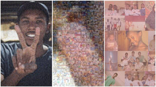 These photos show a mosaic portrait of Koussay Hamadtou by Mirghani Mohamed Salih. (Photos by Osamn Mohamed Salih).