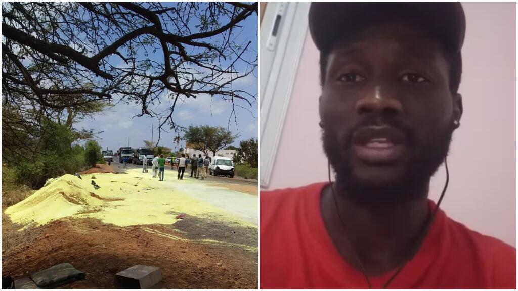 À droite : le Sénégalais Ndiaga Ndiaye, membre de la plateforme Mboro SOS.