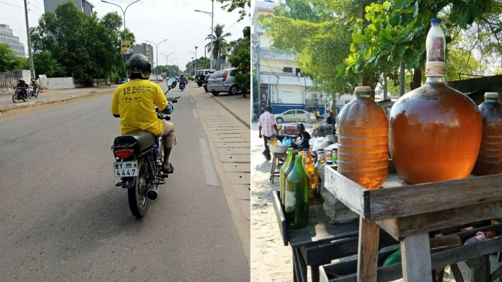 La hausse du prix de l'essence de contrebande depuis plusieurs semaines a affecté l'activité des conducteurs de taxi-moto. Photo prise par Michael Tchokpodo