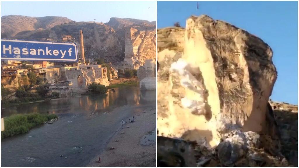 The photo on the left shows the village of Hasankeyf. It was published on Facebook on August 24, 2017. The photo on the right is a screengrab of a video showing explosives being detonated near historic sites on August 29, 2017.
