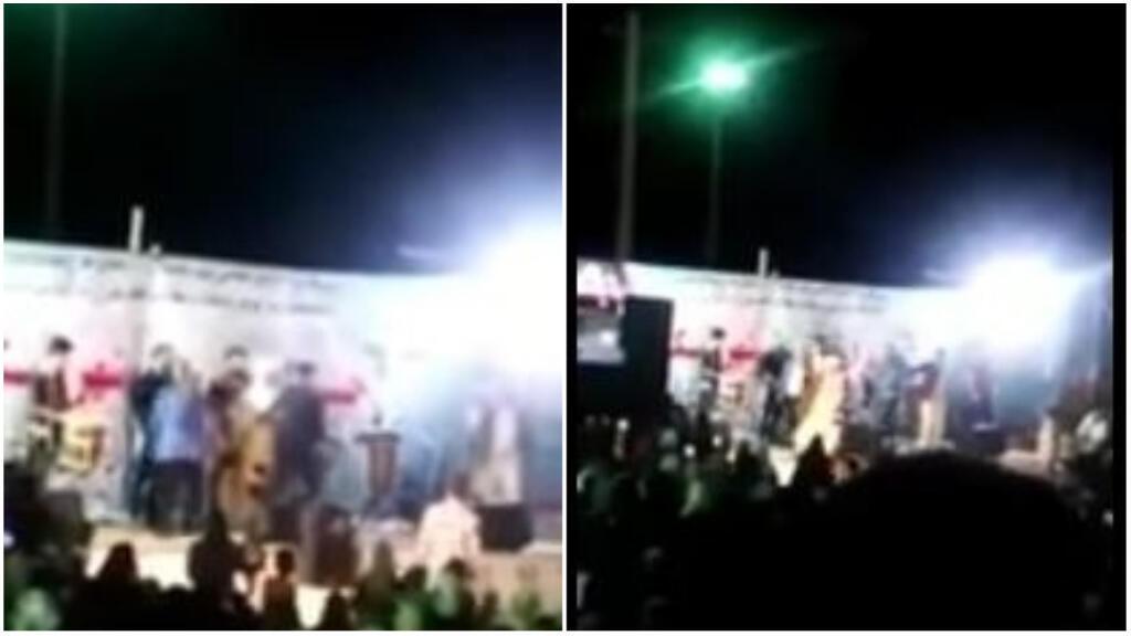 Le mollah a tenté de détruire les affiches et la sono, avant d'être éconduit. Captures d'écran d'une vidéo amateur de la scène.