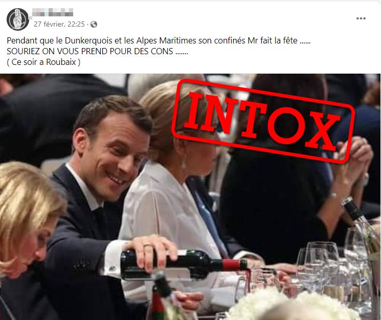 Photo partagée le 27 février prétendant montrer Emmanuel Macron et son épouse au moment du confinement à Dunkerque.