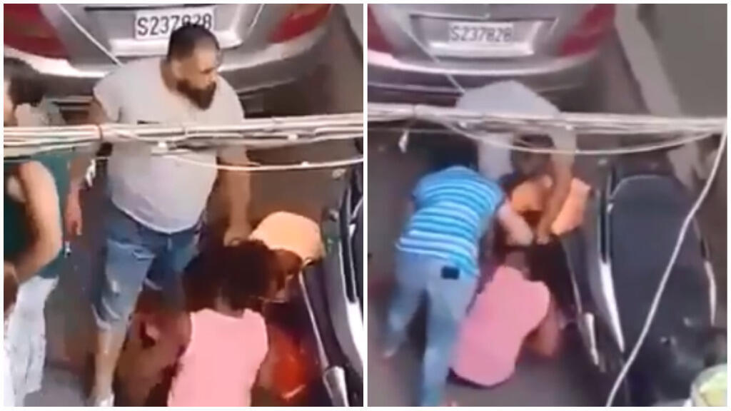 Captures d'écran de la vidéo de l'agression de deux travailleuses domestiques, à Beyrouth, le 17 juin 2018.