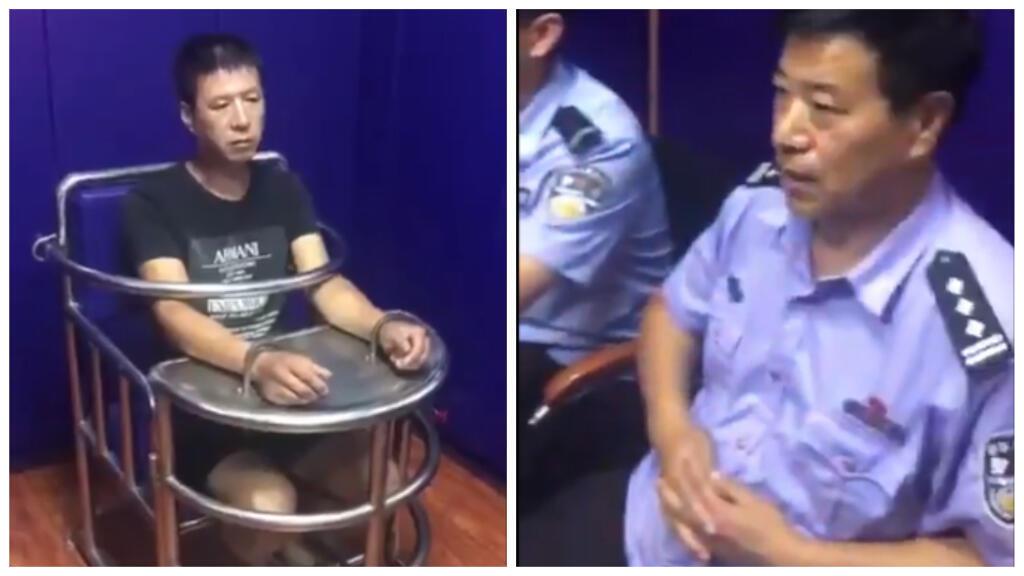 """Un homme interrogé dans une """"chaise du tigre"""" ; capture d'écran d'une vidéo partagée sur Twitter"""