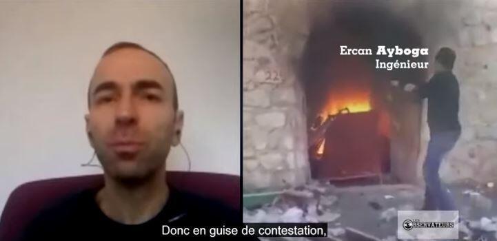 Notre Observateur et un commerçant d'Hasankeyf brulant ses affaires. Crédits : France 24