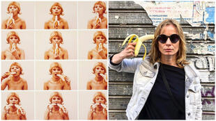 """Left: """"Consumer Art"""" by Natalia LL (posted on Facebook by the National Museum in Warsaw). Right: a """"banana selfie"""" by Polish actress Magdalena Cielecka (@cielecka_magda.official/Instagram)."""