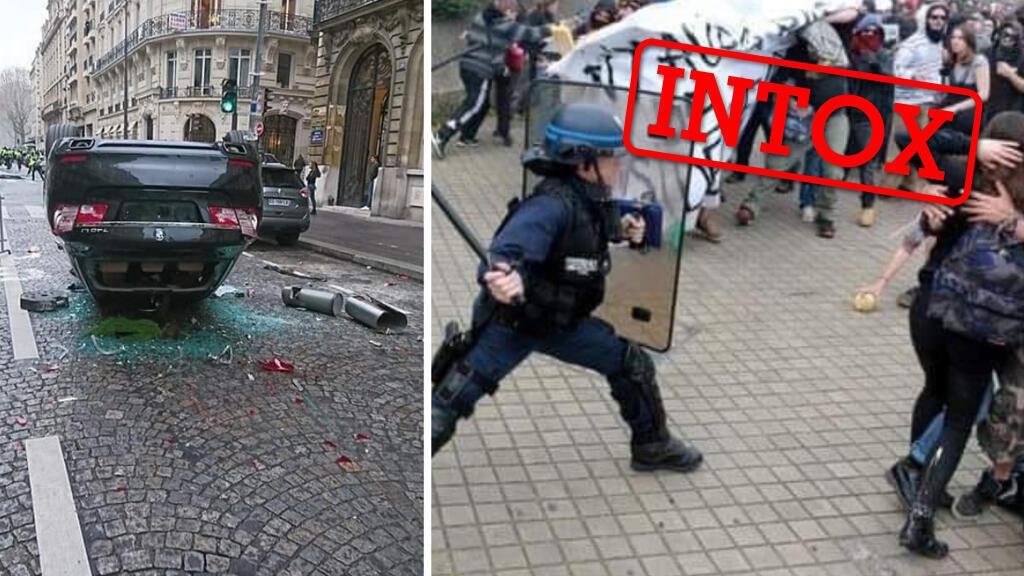 Une voiture renversée le 1er décembre lors des manifestations à Paris et un policier face à des manifestatns en 2016 à Bordeaux.