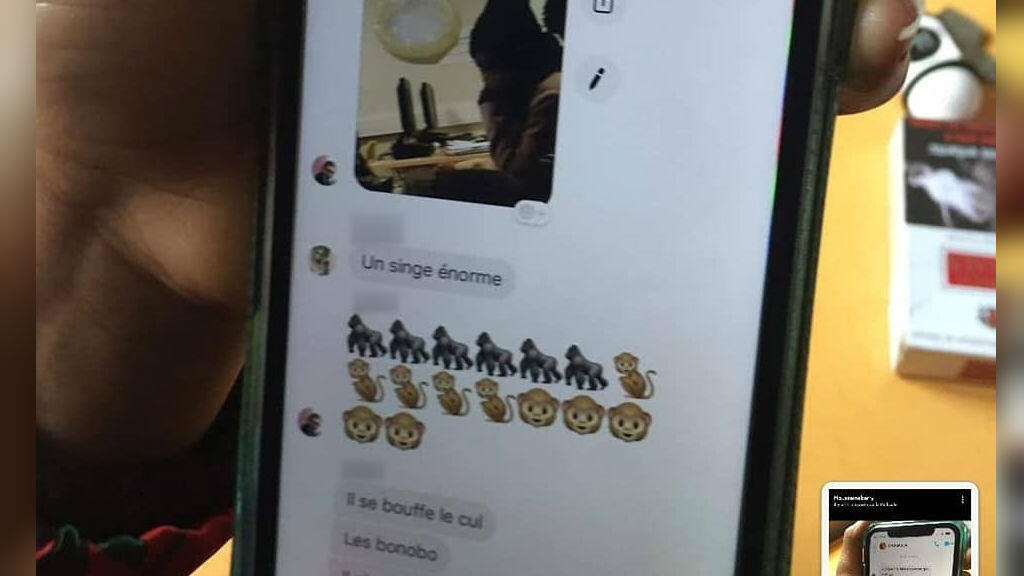 """Students at the University of Lorraine in Metz, eastern France, referred to their black classmates as """"giant monkeys"""" in a private Facebook chat. (Facebook screenshot)"""