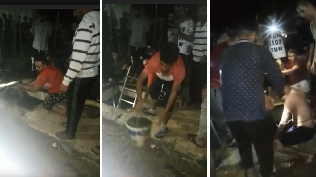 Captures d'écran de vidéos transmises par notre Observateur, qui montrent un groupe de migrants vider un réservoir d'eau avec des seaux pour secourir un enfant, dans la nuit du 19 juin.