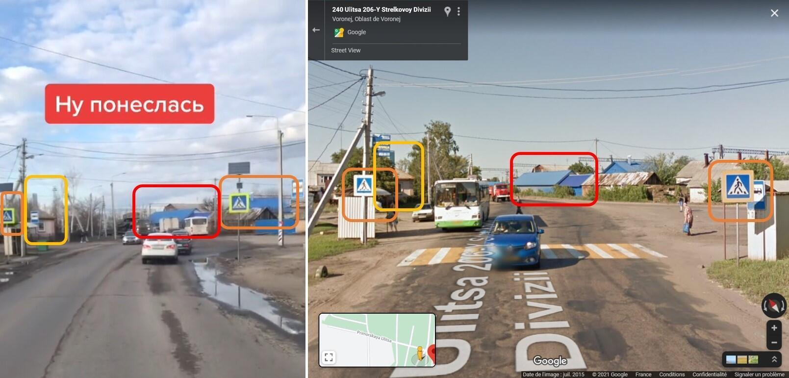 À gauche, une capture d'écran de la vidéo TikTok montrant le convoi militaire. À droite, le même lieu sur Google Street View. L'image de Google date de 2015, le passage piéton semble avoir entre-temps été effacé mais les panneaux qui l'indiquent de part et d'autre de la rue demeurent.