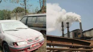 À Fria en Guinée, l'usine Friguia du leader mondial russe de la production d'aluminium Rusal pollue l'air en rejetant de l'alumine. Photo prise par Alhassane Sylla.