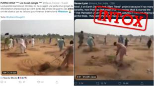 """Des vidéos prétendent montrer des extrémistes pakistanais déraciner des arbres sous prétexte que les planter serait """"contraire à l'Islam"""". Mais cette légende est fausse."""