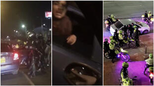 These are screengrabs taken from videos filmed on December 10, 2019 near the Universidad Nacional de Bogota in Colombia that show police forcing young people into unmarked cars and driving off. (Videos posted on Twitter)