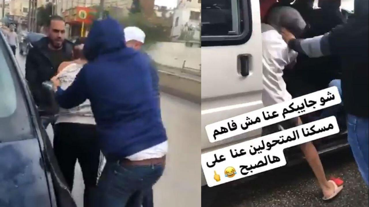 Captures d'écran de vidéos montrant une agression homophobe survenue le 2 décembre à Ramallah. Crédit : Twitter