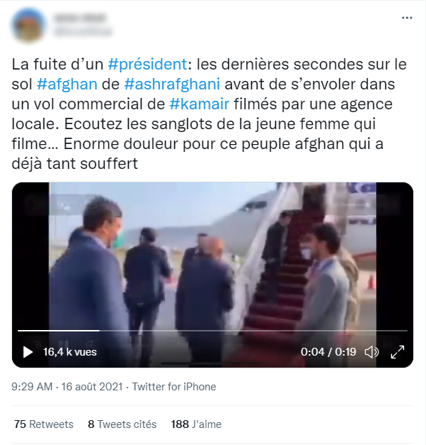 """A Twitter post from August 16 shows a video of Ashraf Ghani boarding a plane, with the caption, """"The escape of a president: Ashraf Ghani's last seconds on Afghan soil before boarding a commercial flight from Kamair, filmed by a local agency."""" The real video dates back to July 15 and shows Ghani leaving for a conference in Uzbekistan."""