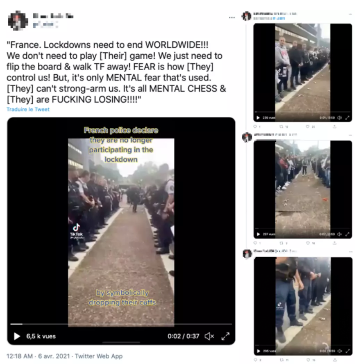 This series of tweets show four different excerpts of the orignal video, which were all posted on TikTok by American accounts.