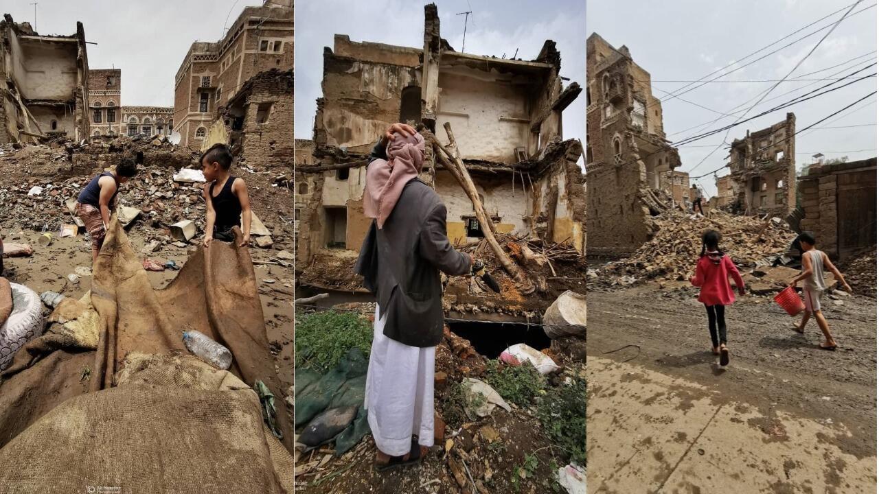 لم تستطع الأسوار والبيوت المتهالكة في المدينة القديمة في صنعاء الصمود أمام الأمطار الموسمية لسنة 2020. صور علي السنيدار