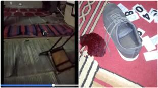 Ces photos ont été relayées sur Twitter. On y voit l'une des mosquées de l'université saccagées par la police.