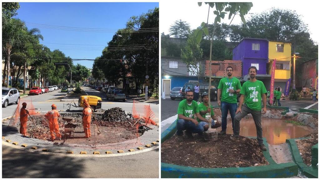 À São Paulo, des activistes cassent le bitume pour faire pousser des jardins. Crédit : Novas Árvores por Aí / Facebook.