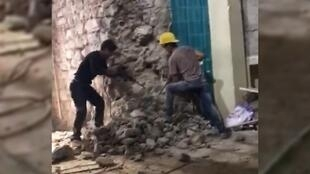 Screengrab of an amateur video showing renovation work on Galata Tower, a major historic monument in Istanbul.