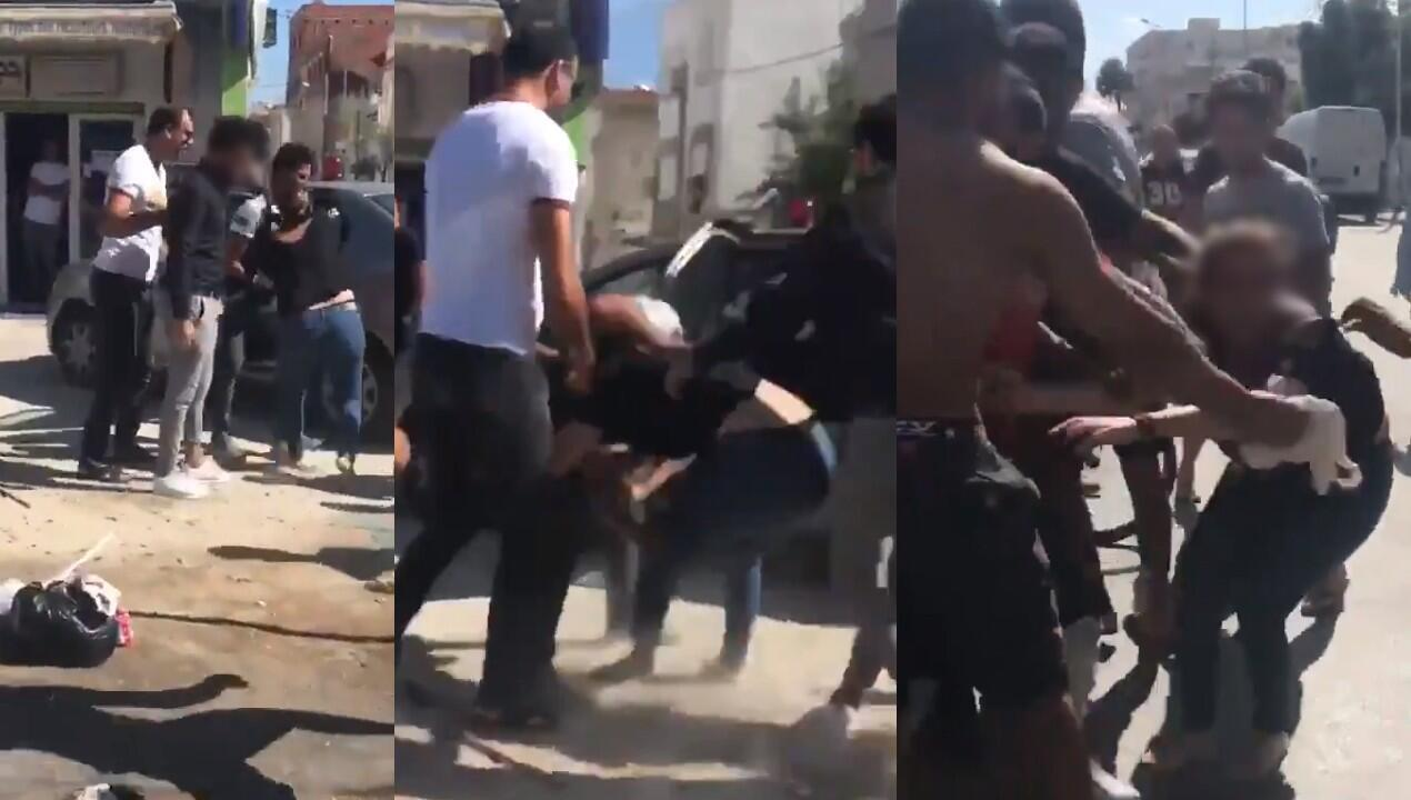 In northern Tunis, two police officers harassed a woman and tried to force her into an unmarked car. The image (right) shows passersby, who intervened, moving the woman away from the car. This is one of three recently reported cases of police brutality.