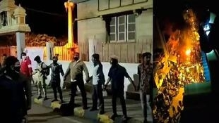 Left: Youth volunteers protect a Hindu temple during riots on August 11. Right: The mob set fire to buildings and vehicles until 1 a.m. (Photos: Twitter)
