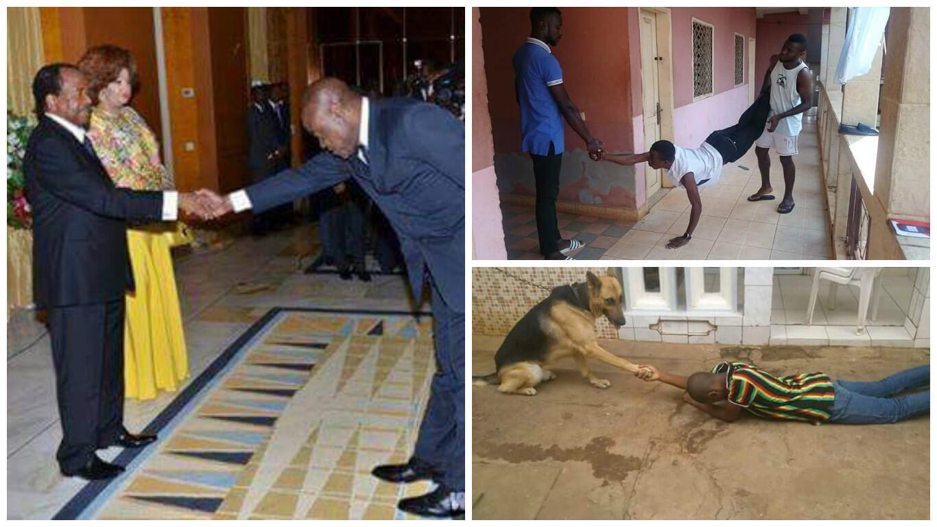 Le ministre des Sports, Ismaël Bidoung, a été pris en photo saluant le président camerounais Paul Biya... et il a inspiré Internet.