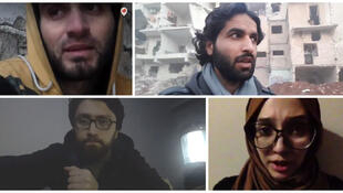 Abdulkafi Alhamdo (top left) was one of several civilians making final appeals for help from the last rebel-held areas of Aleppo on Tuesday Dec. 13, 2016.