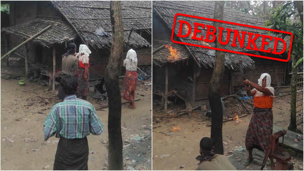 The photos that the government distributed, showing actors pretending to be Rohingya and burning a house.