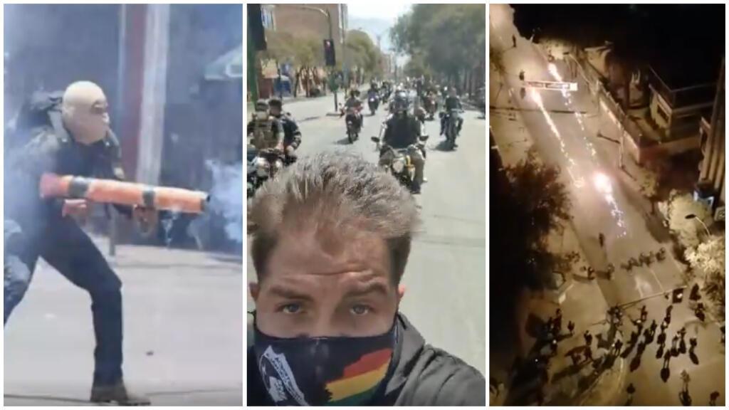 Screenshots from three videos shared on social media.