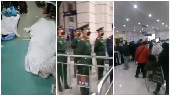 Screenshots from videos posted to Twitter, from left: bodies in a Wuhan hospital; police guard a train station; a crowd of people at a hospital.