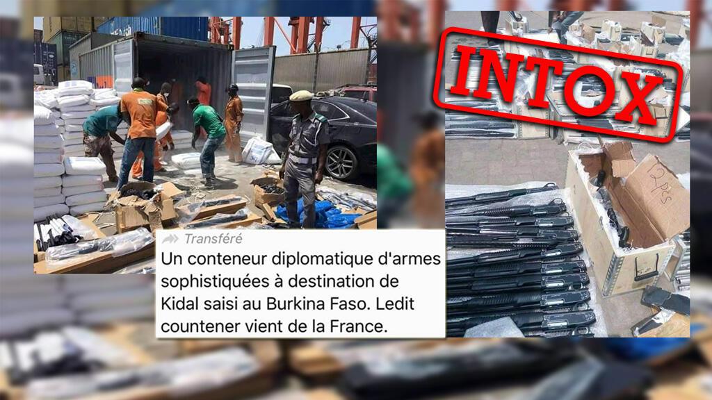 Des images montrant un conteneur rempli d'armes circulent. Mais elles ne montrent pas une saisie d'armes venant de France au Burkina Faso.