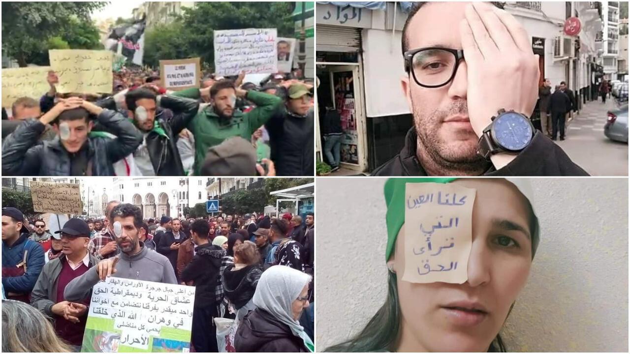 Manifestants et internautes dénoncent les violences policières en Algérie. Crédits : capture d'écran Berbère Télévision / photos relayées par la page Facebook Infonews.